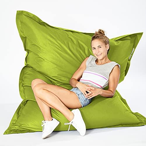 Green Bean © Square XXL Riesensitzsack 140x180 cm - 380L - Indoor Outdoor - waschbar, ergonomisch, doppelt vernäht - Lounge Chair, Kindersessel, Bodensitzkissen, Sitzkissen - Grün