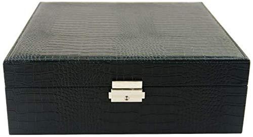 HUATINGRHPM Uhrenbox, Schmuckschatulle Aufbewahrungsdisplay Zubehör für Simple Organizer mit Sicherungsring Halskette Multifunktions-Doppelschichtuhr - 26x26x9cm