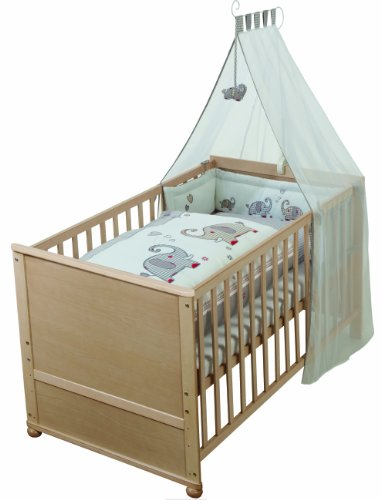 roba 03933S145 Komplettbett Set 'Jumbotwins', Babybett natur inkl.  Himmel, Nest, Matratze, Kombi Kinderbett 70 x 140 cm umbaubar zum Junior Bett