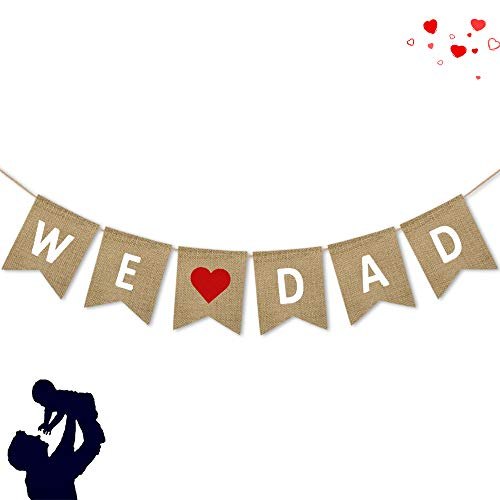 We Love Dad Burlap Banner | Rustic Fathers Day Party Decoration Supplies| Fathers Day Gi1fts from Son and Daughter