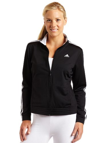 adidas Women's 3-Stripes Jacket, Black/White, Large