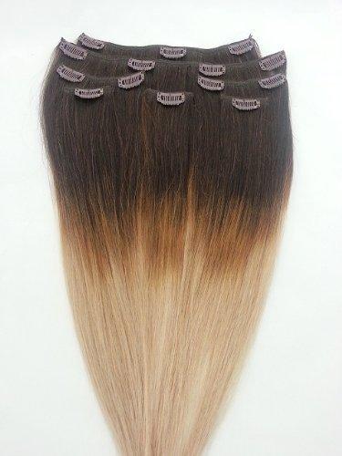 50,8 cm 7 extensions de cheveux 100% Remy Humains Ombre à clipser # T2/18 Blond Clair (Blond Foncé – Ne pas)
