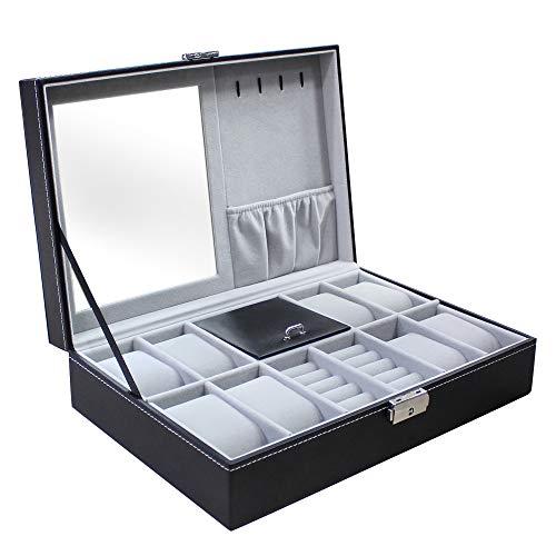 Todeco - Caja de Relojes de Joyería, Caja de Exhibición para Joyero de Relojes - Tamaño: 30 x 20 x 8 cm - Material de la caja: MDF - 8 relojes, joyas y espejo, Gris