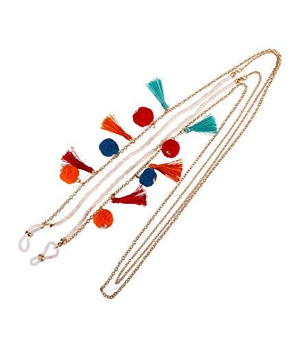 SIX Damen Brillenkette, stylische Brillenkette im Layering Look mit knallig bunten Puscheln und Tasseln als Verzierung (786-027)