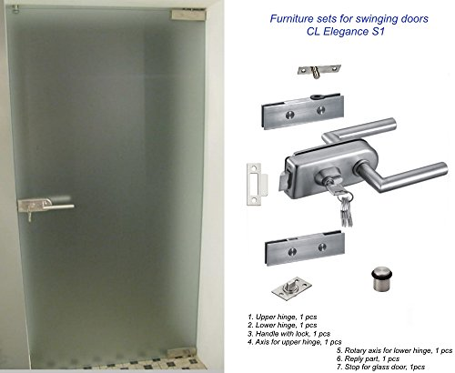 Un conjunto de accesorios para puertas batientes de vidrio - CLElegance S1. Bisagras, Manija con cerradura, Eje para bisagras superior e inferior, Parte de respuesta, Tope