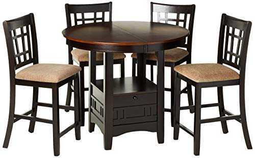 Coaster Home Furnishings Lavon 5-Piece Storage Counter Table Dining Set Tan and Espresso