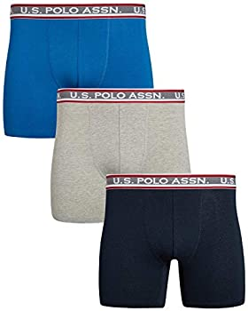U.S Polo Assn Men's Athletic No Fly Mesh Boxer Briefs with Comfort Pouch  3 Pack  Grey Heather/Navy/Blue Size Small