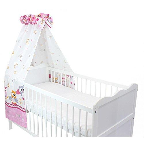 TupTam Babybett Himmel mit Schleifchen, Farbe: Eulen Rosa, Größe: ca. 160x240 cm