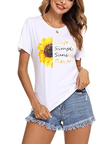 Irevial Maglietta Donna Manica Corta Elegante Maglietta Donna Estiva T Shirt Donna Basic Girocollo Casual Top Sportivo Donna Estivo con Stampa
