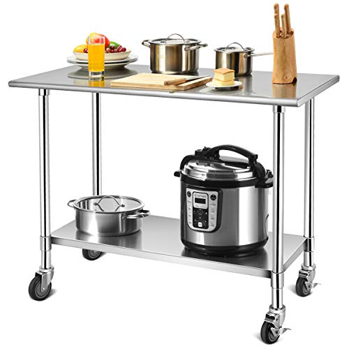 Giantex 48 × 24 Inches NSF Stainless Steel Work Table Metal Table with 4 Caster HeelsAdjustable Lower Shelf Commercial Kitchen Food Prep Table for Kitchen Restaurant