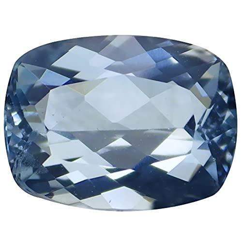 1.24 ct Corte Cojín (8 x 6 mm) Azul cielo/Sin tratar Aguamarina Natural Auténtica Piedra Preciosa Suelta