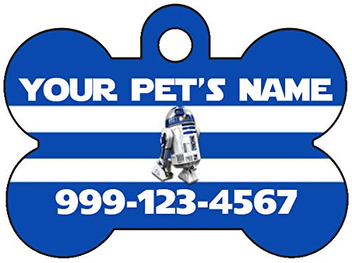 uDesignUSA Disney Star Wars R2D2 Personalized Dog Tag Pet Id Tag w/Your Pet's Name and Number
