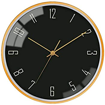 VIKMARI Gold Frame Glass Wall Clock Non-Ticking Silent Sweep Movement Wall Clocks for Office,Home,Living Room,Dining Room,Kitchen Decorative 12 Inch Round Hanging Clock