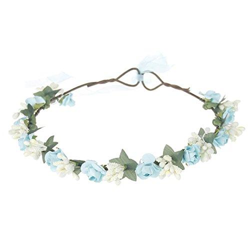 JLDJWSJD Corona de flores para niñas, accesorio para el pelo, corona de flores artificiales para la cabeza de la corona de la boda