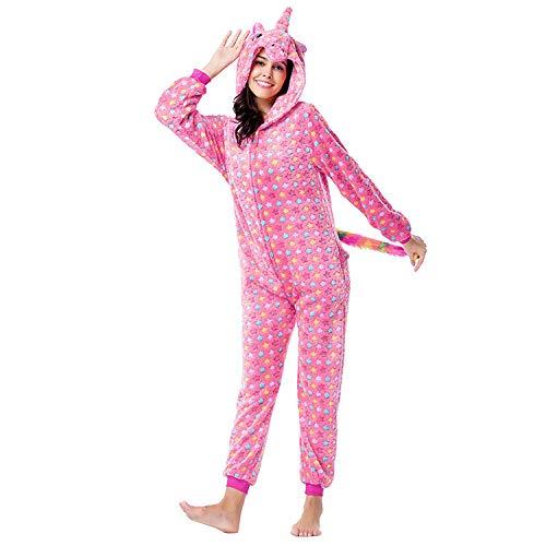 Damen Onesie Pyjama,Damen Tier Nachtwäsche Rote Sterne Einhorn Onesies Pyjama Kapuze Homewear Anime Cosplay Kostüm Für Paare Täglich Tragen Erwachsene Geschenk Weihnachtsfeier, S: Geeignet Für