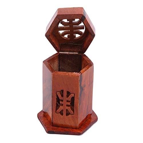 WJGJ Zahnstocherspender,Zahnstocher Holz Zahnstocher Aufbewahrungsbox Vintage Style Wattestäbchen Box Geeignet for Familienrestaurant Cafe Palisander Sechseck (Farbe : Rosewood Hexagon)