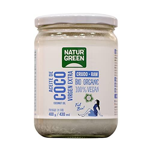 NaturGreen Aceite de Coco Bio, Virgen Extra, Ideal para Cocinar, Hidrata Piel y Cabello, Ingredientes Naturales, Apto para Veganos, 430 Ml/ 400 Gramos