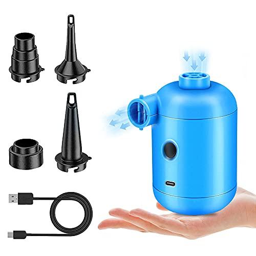 Elektrische Luftpumpe mit 4 Verschiedene Düsen und USB-Aufladung,2 in 1 Inflate und Deflate Elektrische Pump für Luftmatratze, Luftbett, Flöße Sofas, Boot, Luftmatratze Pool, Schwimmringe