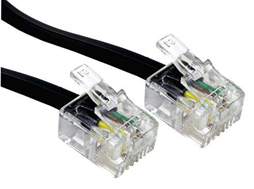 rhinocables Hochgeschwindigkeits-RJ11 ADSL-Kabel Premium Qualität führen High Speed Stecker BT Internet Breitband Modem Router Telefon Draht (7,5m, Schwarz)