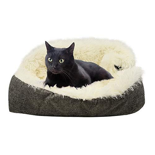 MOUHIV 2-in-1-Katzendecke Katzenbett Faltbarer waschbarer Plüsch Katze Matte Zusammenklappbares Katzenkissen, Weiche warme Bequeme tragbare Schlafsack für kleine Haustiere Kätzchen Welpen im Winter