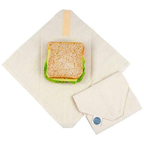 Earthtopia 2er Set Lunchwraps aus Bio-Baumwolle | das Wiederverwendbare Brotpapier aus fairer Herstellung | Zero Waste Alufolie