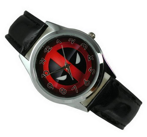 Wristwatches Unisex Uhr Analog Quarzwerk mit Leder Armband Marvel Super Hero Deadpool Schwarz Runden
