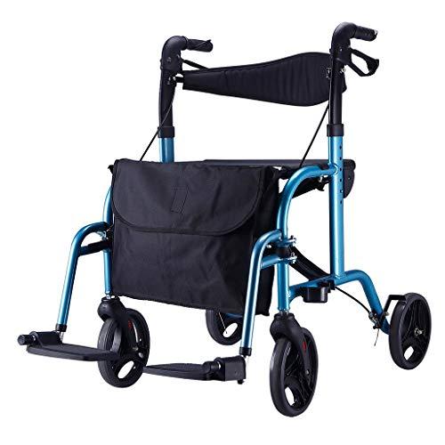CHenXy Senioren-Gehhilfe Sitz aus Aluminiumlegierung mit Rädern, höhenverstellbar, klappbar, behindertengerecht, Einkaufswagen for Senioren, Tragfähigkeit bis 100 kg medizinische Walker