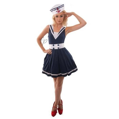 a36f7067717 LADIES SAILOR FANCY DRESS COSTUME NAVY OUTFIT PARTY SIZE 8-10 LFD1007S by  Fancy Pants
