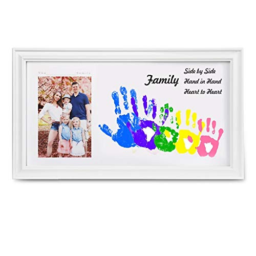Customizable Baby Handprint Footprint Keepsake with Large Size Family Photo Frame Kit - Personalize w/Your Family Name! Non-Toxic Paint. Perfect Registry, Baby Shower, Birthday & Mothers' Day Gift!