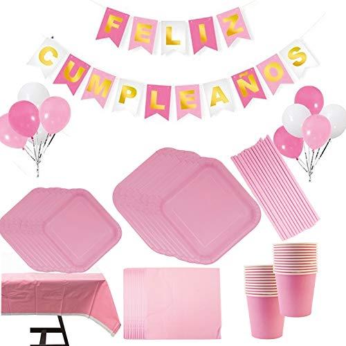 Vajilla Papel Cumpleaños Unicornio Rosa para 16 Invitados… (Rosa Liso)