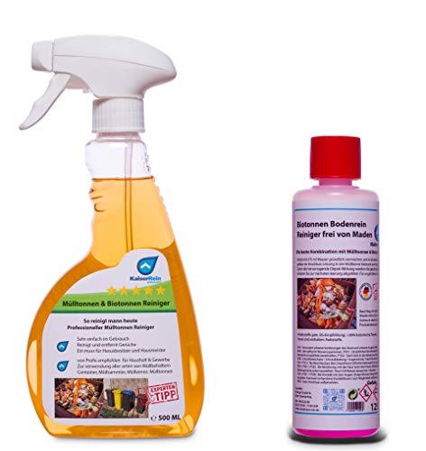 KaiserRein Biotonnen-Reiniger & Mülltonnenreiniger 500 ml (1) mit Geruchsneutralisierer + Bodenreiniger Langzeitwirkung (2) 125 ml