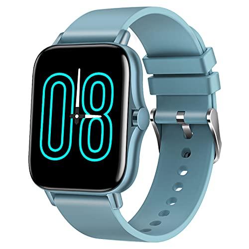 QFSLR Reloj Inteligente Mujer Y Hombre, Smartwatch Impermeable IP67 con Llamada Bluetooth Monitor De Frecuencia Cardíaca Monitor De Presión Arterial Monitoreo De Oxígeno En Sangre,Azul