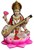 """Krishna Culture Mini Saraswati 3.5"""" Statue Sarasvati Goddess of Learning Golu Doll"""