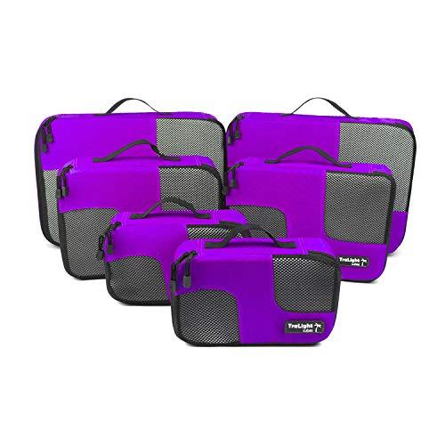 TraLight ® Packing Cubes | Packwürfel | Packtaschen | Kleidertaschen für Koffer, Reisetasche, Handgepäck, Rucksack, Sporttasche | 6 teiliges Set (Lila)