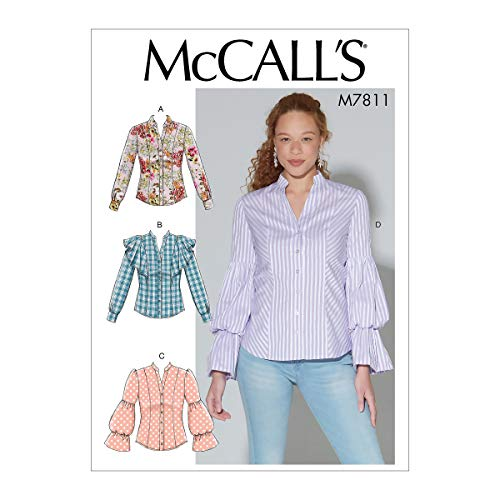 McCall's Patterns McCall's M7811A5 Women's Button-Up Blouse Sewing Patterns, Sizes 6-14, 6-8-10-12-14
