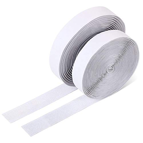 26.2ft/8m Velcro - Velcro Adhesivo Cinta Auto Adhesivo Cinta Rollo Hook y Loop Tape,con 1Roll Gancho y 1Roll Lazo,20mm de Ancho Blanco
