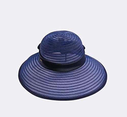 Cyyypd. Cappello Estivo da Donna Visiera da Vacanza Cappello da Sole Protezione Solare Cappello da Spiaggia Piatto Coda da Donna Cappello da Pescatore (Color : Blue)
