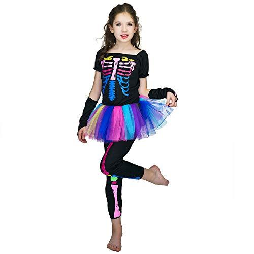 SEA HARE Disfraz de Halloween Disfraz de Esqueleto arcoíris para niña (7-9 años)