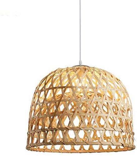 Manual Bamboo Basket Chandelier Southeast Asian Rattan Pendant Lights Retro Thai Hotel Engineering Lamp Restaurant Farmhouse Farmhouse Garden Rattan Art Lighting Hanging Lights (Size : Medium)