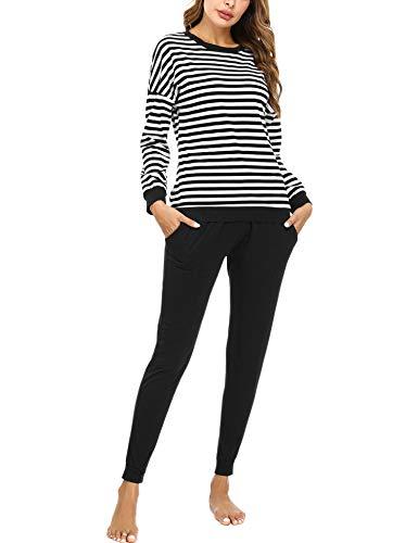 Doaraha Pijamas Algodón para Mujer Estampado de Rayas Ropa de Dormir Camiseta Manga Larga con Pantalones Larga Puño Elástico Conjunto de Pijamas Suave y Transpirable (Negro, L)