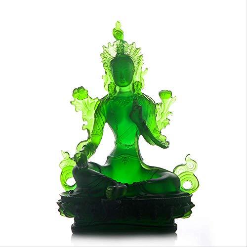 Tibetan Buddhism Supplies Resin to Keep Peace Green Tara Glass Buddha Statue Tantric Buddha Decoration