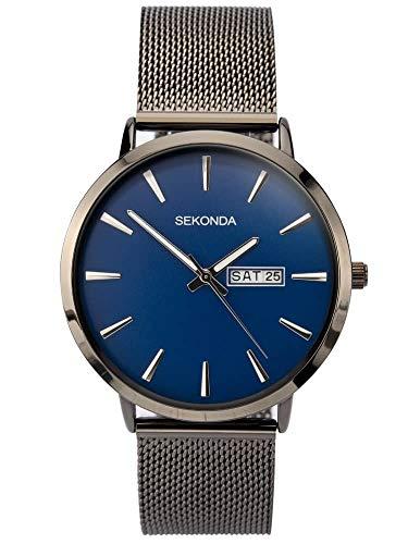 Sekonda Herren Analog Klassisch Quarz Uhr mit Edelstahl Armband 1728