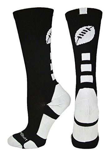 MadSportsStuff Football Logo Crew Socks (Black/White, Small)