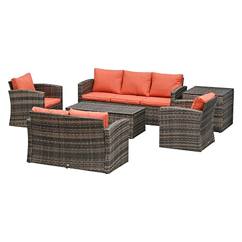 Outsunny 6 Piece Outdoor Rattan Wicker Sofa Set Sectional Patio Conversation Furniture Set w/Storage Table & Cushion Mixed Brown