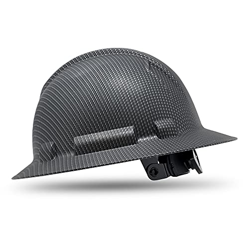 ACERPAL Full Brim Hard Hat, OSHA Construction Work Safety Helmet, 6 Point Adjustable Ratchet Suspension, Carbon Fiber Event Horizon Design