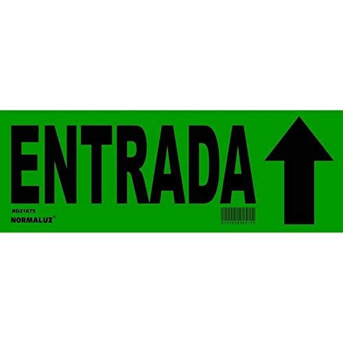 Normaluz RD21675 - Señal Adhesiva Entrada con Flecha Direccional 35x12,5 cm, Vinilo adhesivo Verde