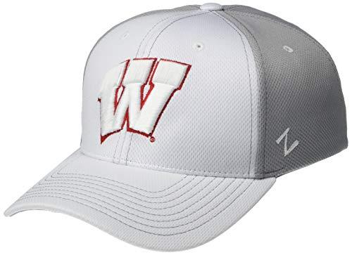 NCAA Zephyr Wisconsin Badgers Mens Yeti Performance Hat, Medium/Large, White/Grey