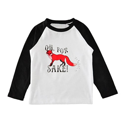 DaySeventh Baby Kids Boys Girls Long Sleeve Fox Cute T-Shirt Tops (4T, Type 2 Black)