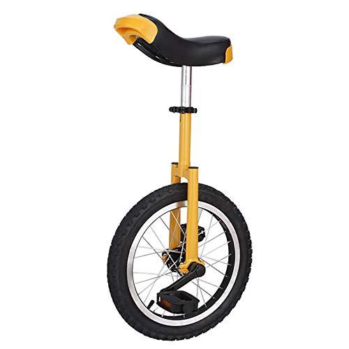 Lhh Monociclo Monociclos con Ruedas Unisex para Adultos/Niños Grandes/Mamá/Papá, Uni Cycle de 20 Pulgadas con Sillín de Diseño Ergonómico Y Borde de Aluminio (Color : Yellow)