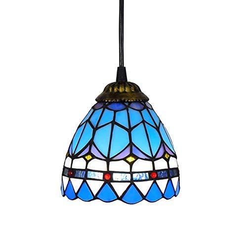 Araña de cristal de estilo tiffany 6 pulgadas estilo de Tiffany Small Pnedent lámpara de luz de cristal azul pendiente mediterránea de techo suspendido accesorio de la lámpara de sombra for comedor Co